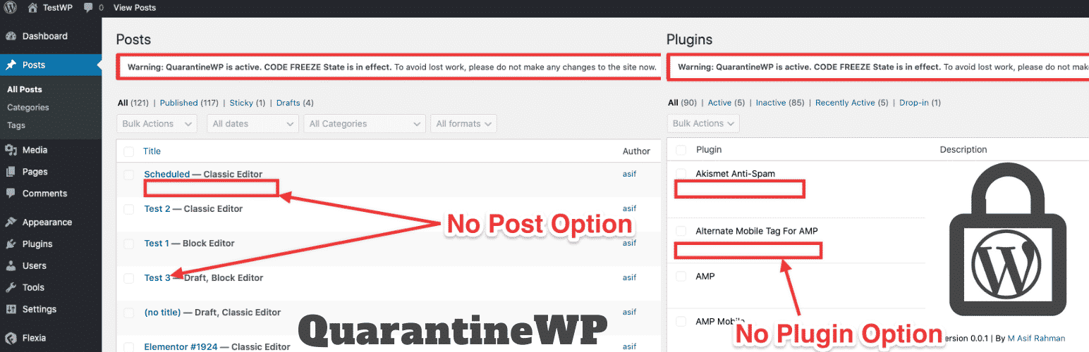 QuarantineWP - Code Freeze, Maintenance Mode Plugin for WordPress